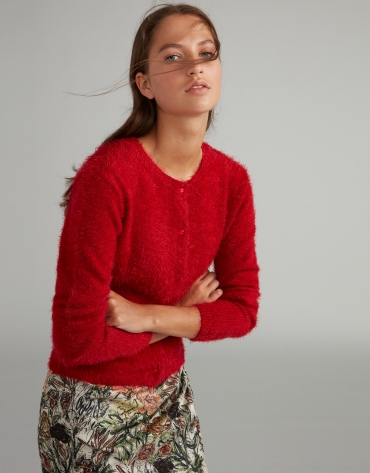 Scarlet fur-effect knit cardigan