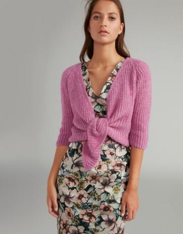 Pink short brioche knit jacket