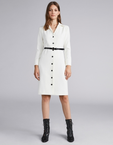 Ivory shirtwaist dress with belt