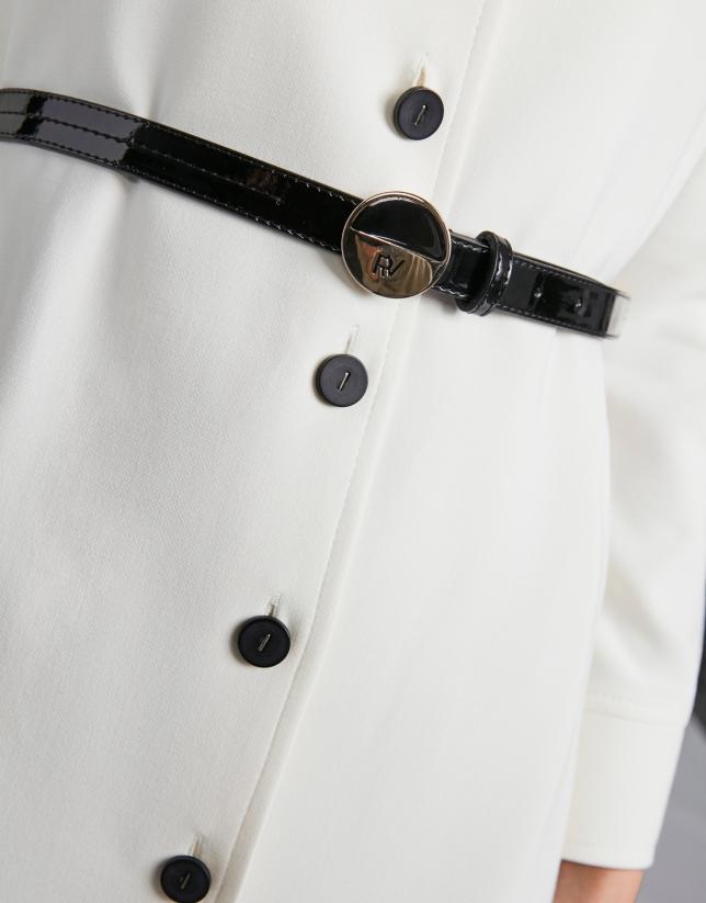 Vestido camisero marfil con cinturón