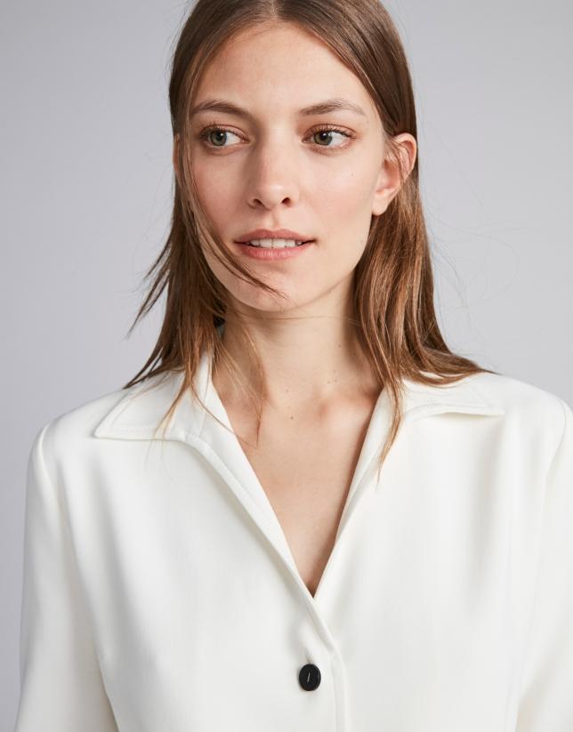 Ivory shirtwaist dress with belt