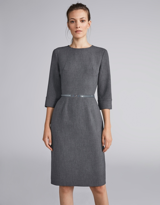 Marengo gray gross grain midi dress