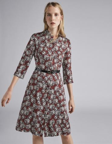 Burgundy midi dress shirt with floral print