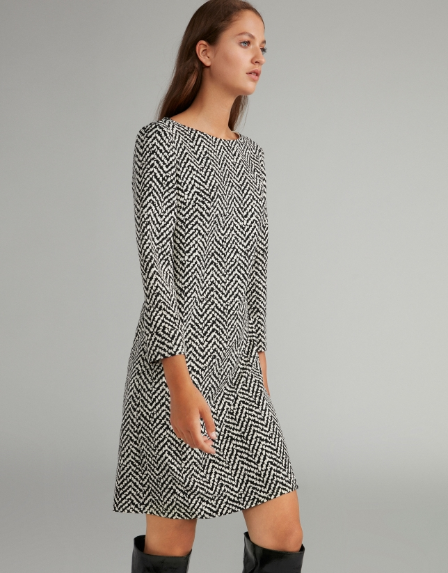 Black herringbone print dress