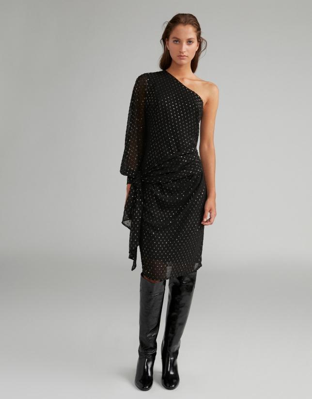 Black midi dress with asymmetric neckline