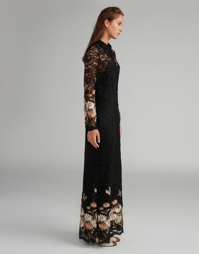 Black long chantilly lace dress