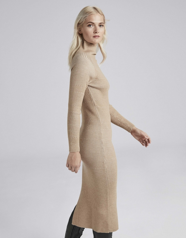 Camel knit midi dress