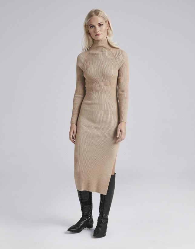Camel knit midi dress