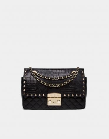 Black alligator Ghauri shoulder bag