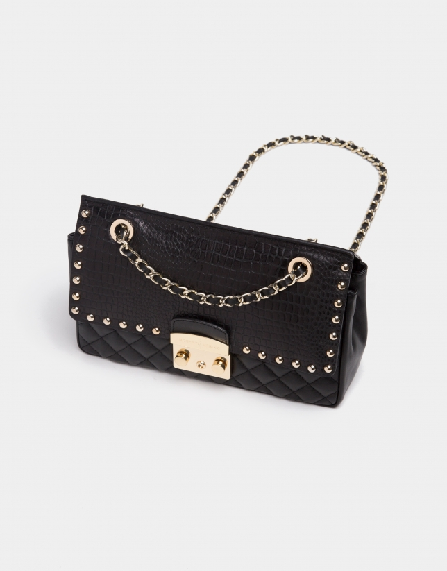 Black alligator Ghauri shoulder bag