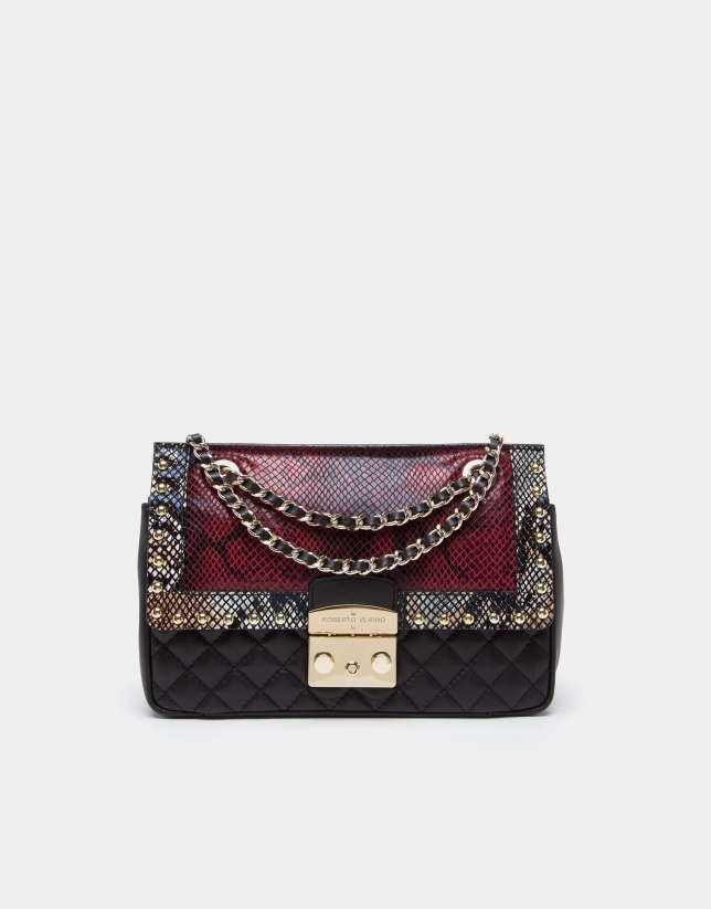 Bolso shoulder Ghauri rojo serpiente