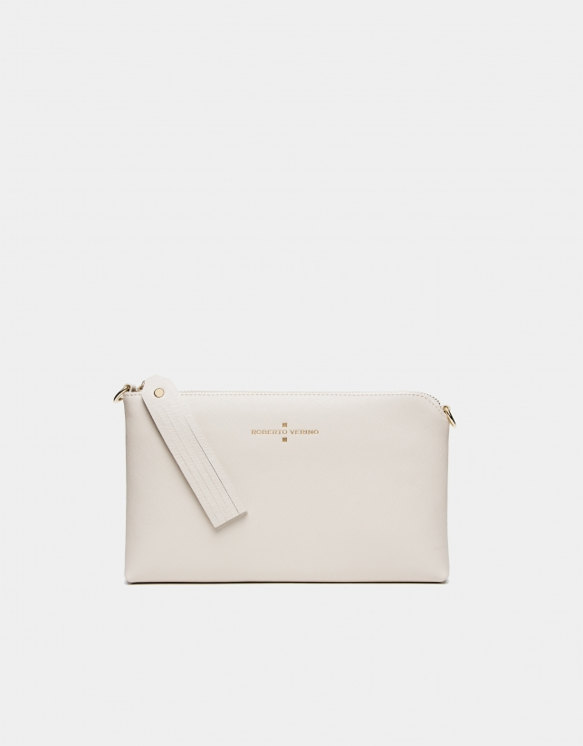 Beige Nano Lisa Saffiano clutch bag