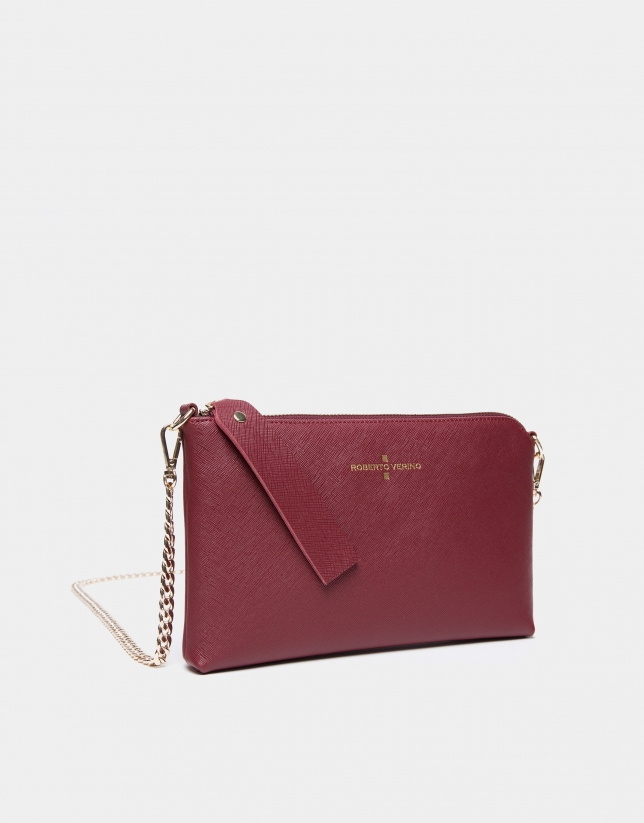Burgundy Nano Lisa Saffiano clutch bag