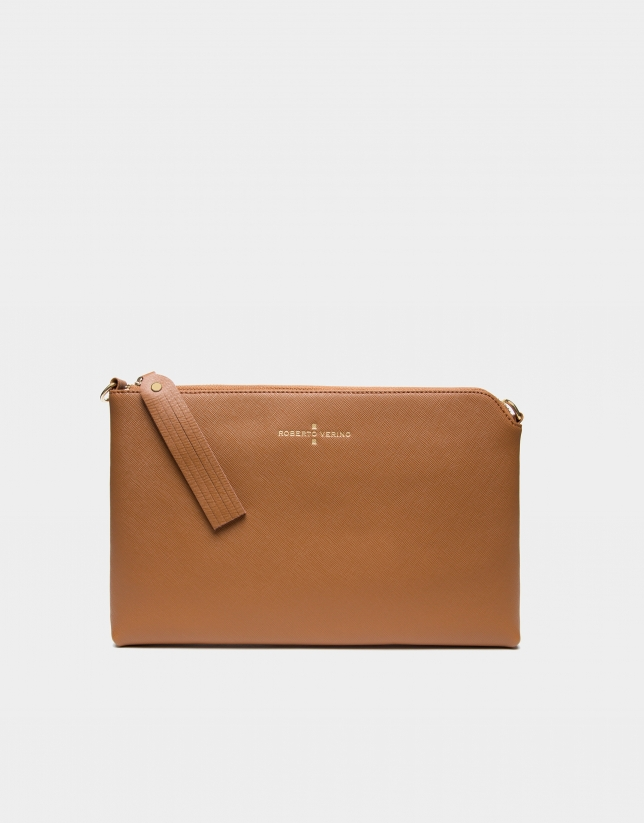 Camel Lisa Saffiano clutch bag