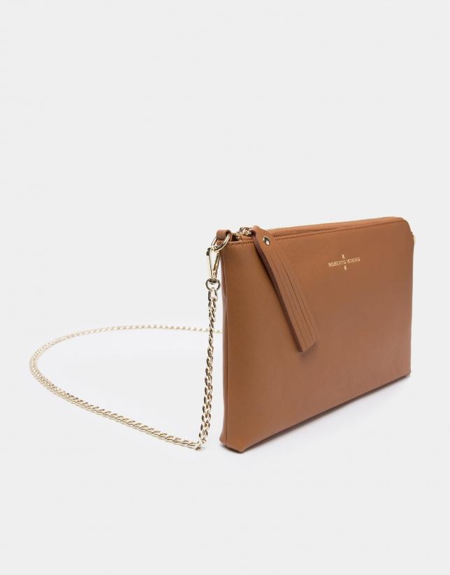 Camel Lisa Saffiano clutch bag