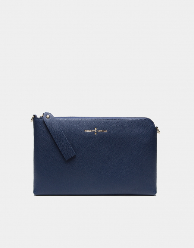 Clutch Lisa bleu marine en cuir saffiano