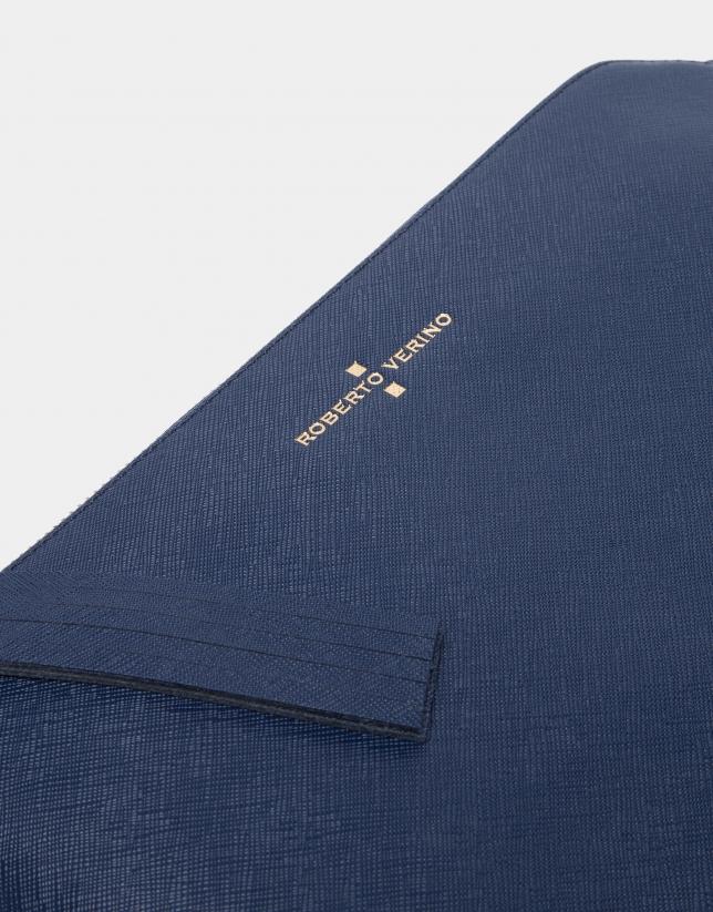 Bolso Clutch Lisa azul marino saffiano