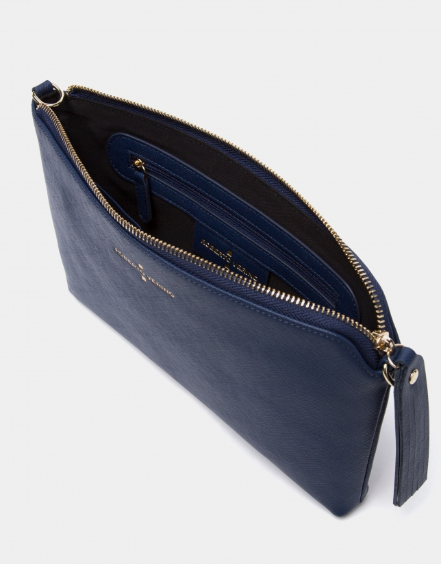 Navy blue Lisa Saffiano clutch bag