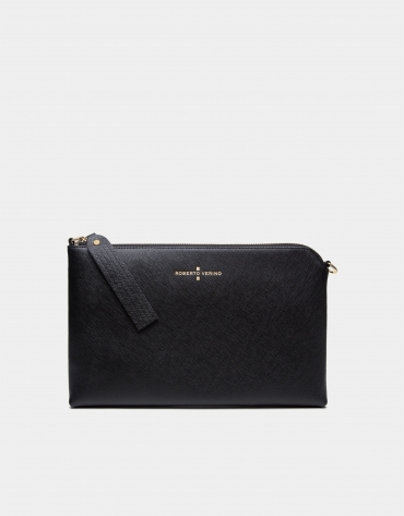Black Lisa Saffiano clutch bag