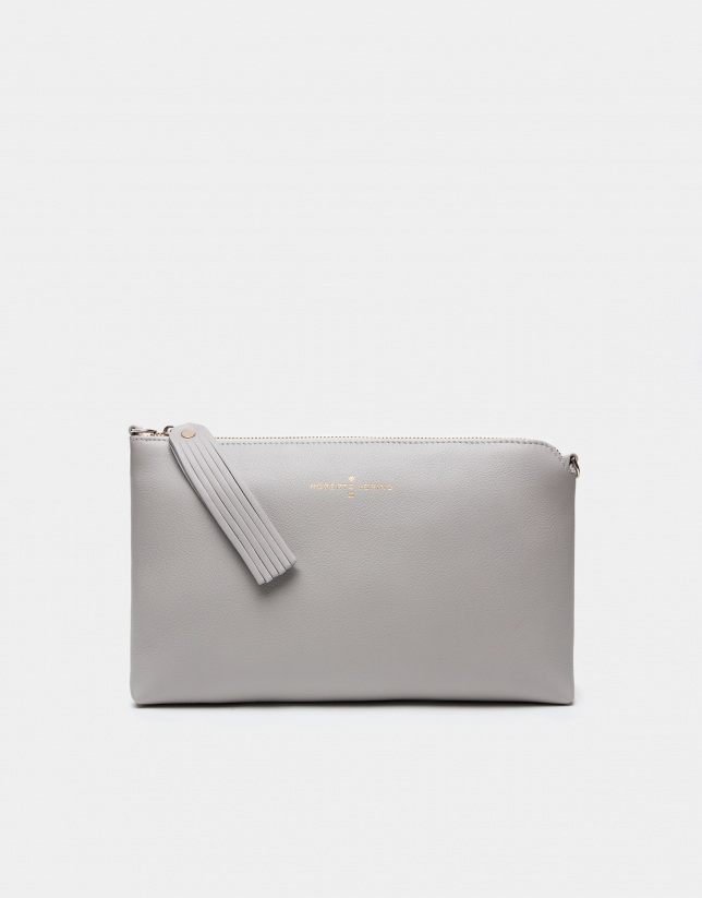 Pearl gray Lisa clutch bag