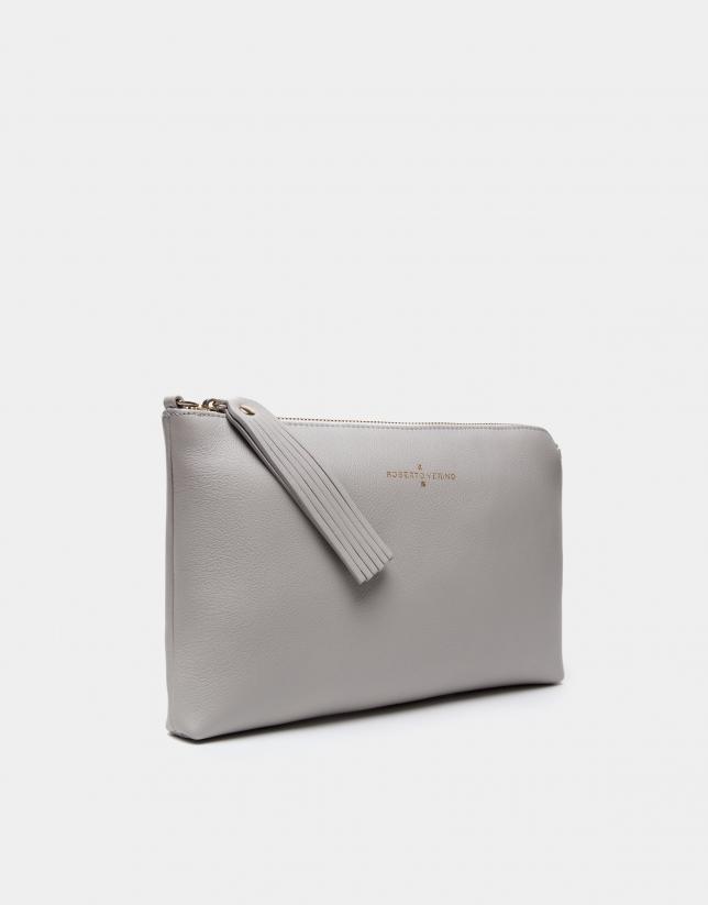 Pearl gray Lisa clutch bag