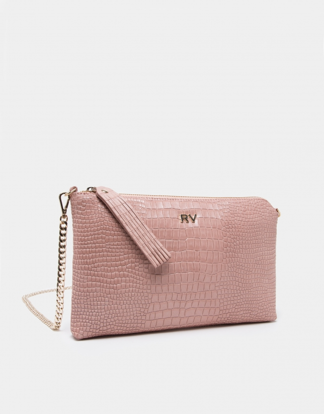 Pink alligator Lisa clutch bag