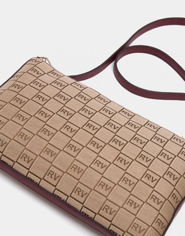 Burgundy canvas Lisa clutch bag with logos