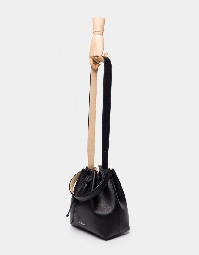 Sac Bouquet en cuir noir