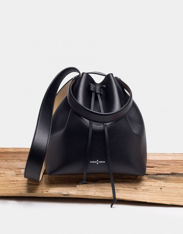 Black leather Bouquet bag