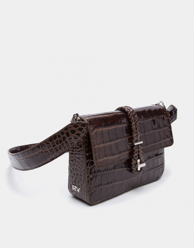 Bolso cartera Joyce cordón coco marrón
