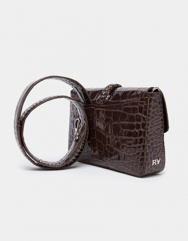 Brown alligator Joyce clutch purse with ties
