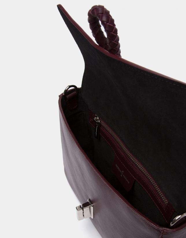 Sac à main pochette Joyce à ruban en cuir bordeaux