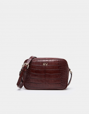 Burgundy alligator Taylor shoulder bag