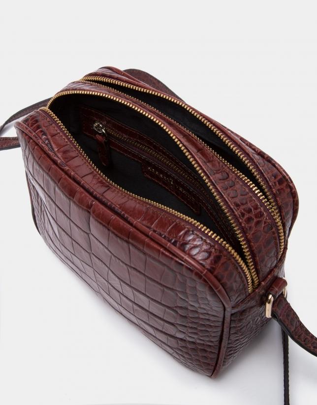 Burgundy alligator Taylor shoulder bag