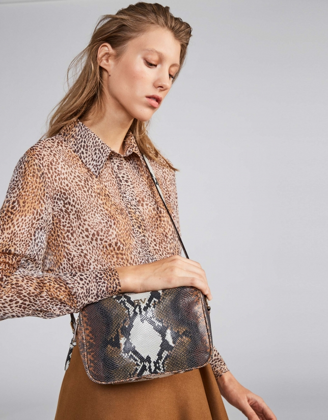 Embossed snakeskin Taylor shoulder bag