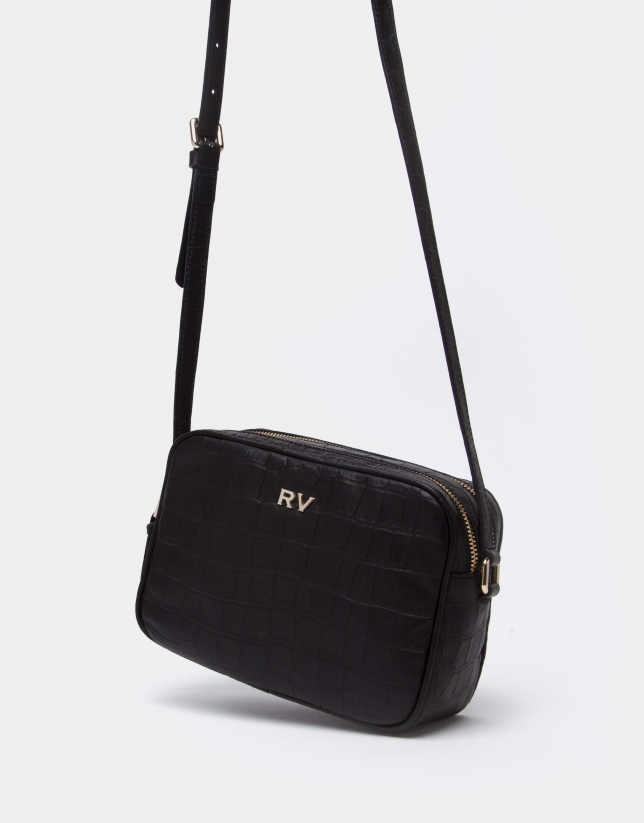 Black alligator Taylor shoulder bag