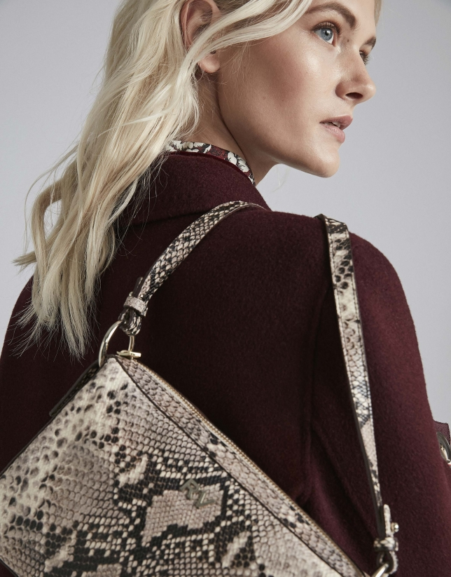 Embossed snakeskin Trèsse shoulder bag