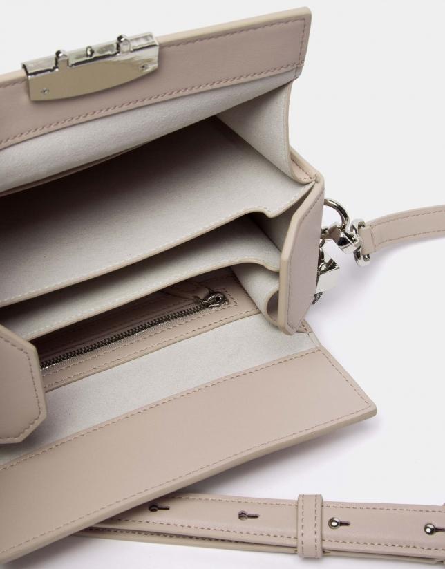 Beige leather Trunk handbag