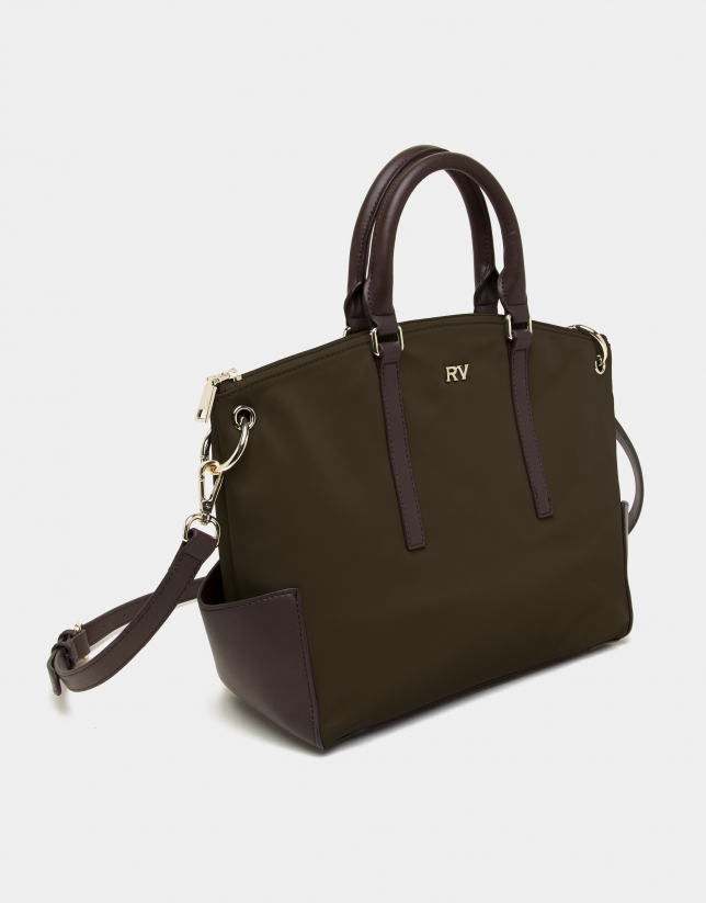 Green midi Candem leather shopping bag