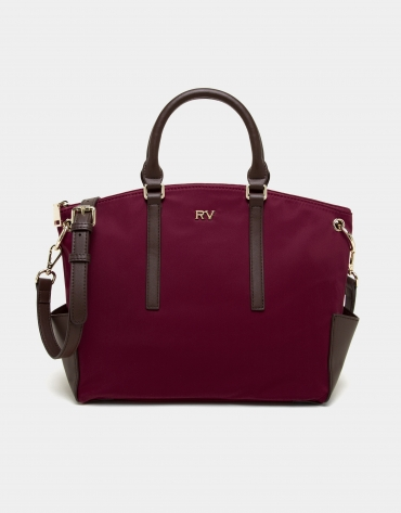 Burgundy midi Candem leather shopping bag