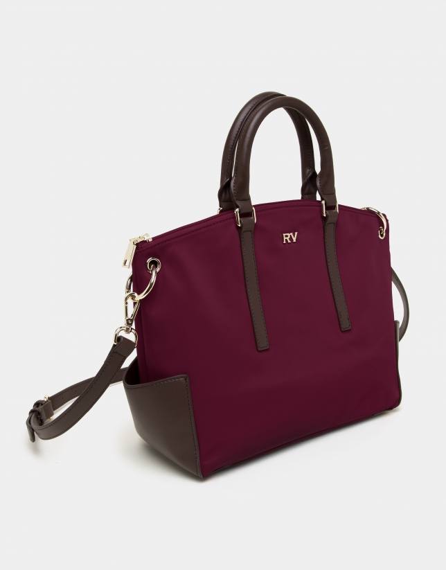 Burgundy midi Candem leather shopping bag