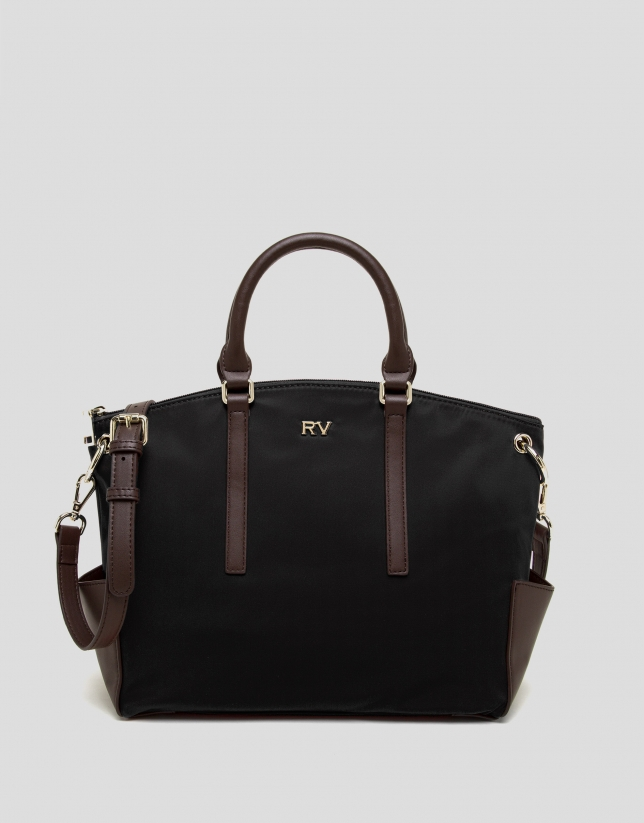 Black midi Candem leather shopping bag
