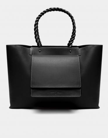 Black leather Garden tote bag