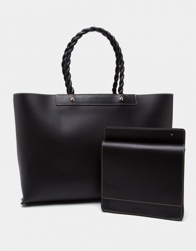 Black leather Garden tote bag