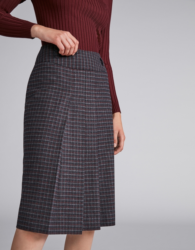 Marengo gray checked pencil skirt