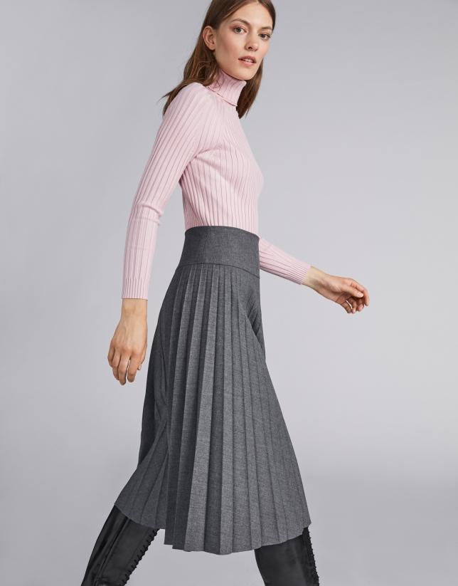 Marengo gray pleated midi skirt