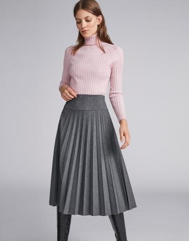 Jersey canalé cuello tortuga rosa - Mujer  9296e37e92d5