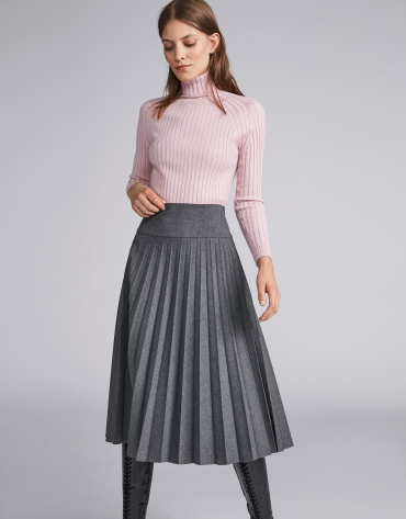 Marengo gray pleated midi skirt