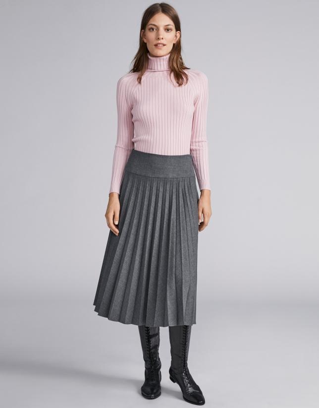 Falda midi plisada gris marengo