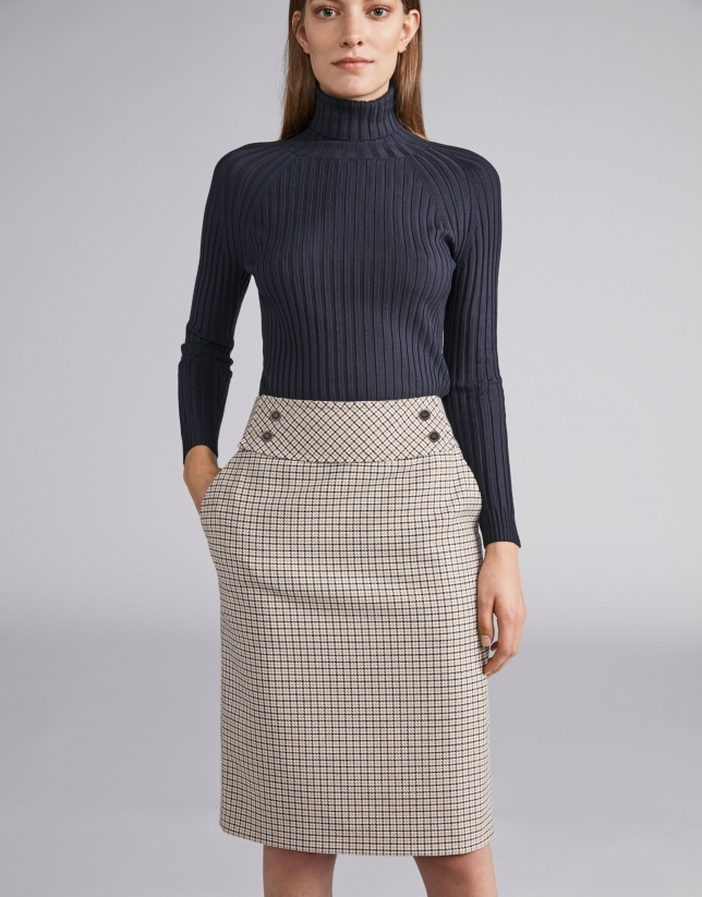 Beige houndstooth pencil skirt